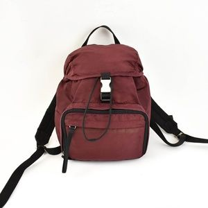 PRADA: Burgundy, Vela Nylon, & Logo Backpack (ru)